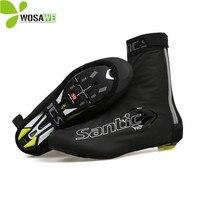 Santic Black Waterproof Cycling Shoes Cover Non slip Reflective Zipper PU Rain EUR 39 44 Size MTB Bike Sport Sneaker Covers