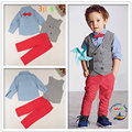 Spring Autumn Little Gentleman Children's Sets Europe and American Style Red Tie Blue Shirt Trousers Vest 3Pcs Boys Clothing
