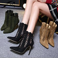 Womens gladiador zapatos de tacones 2017 Primavera Zapatos de Las Mujeres Señalaron Ahuecan Hacia Fuera Las Bombas de Las Señoras Zapatos Otoño Botines Cortos Mujeres Negro