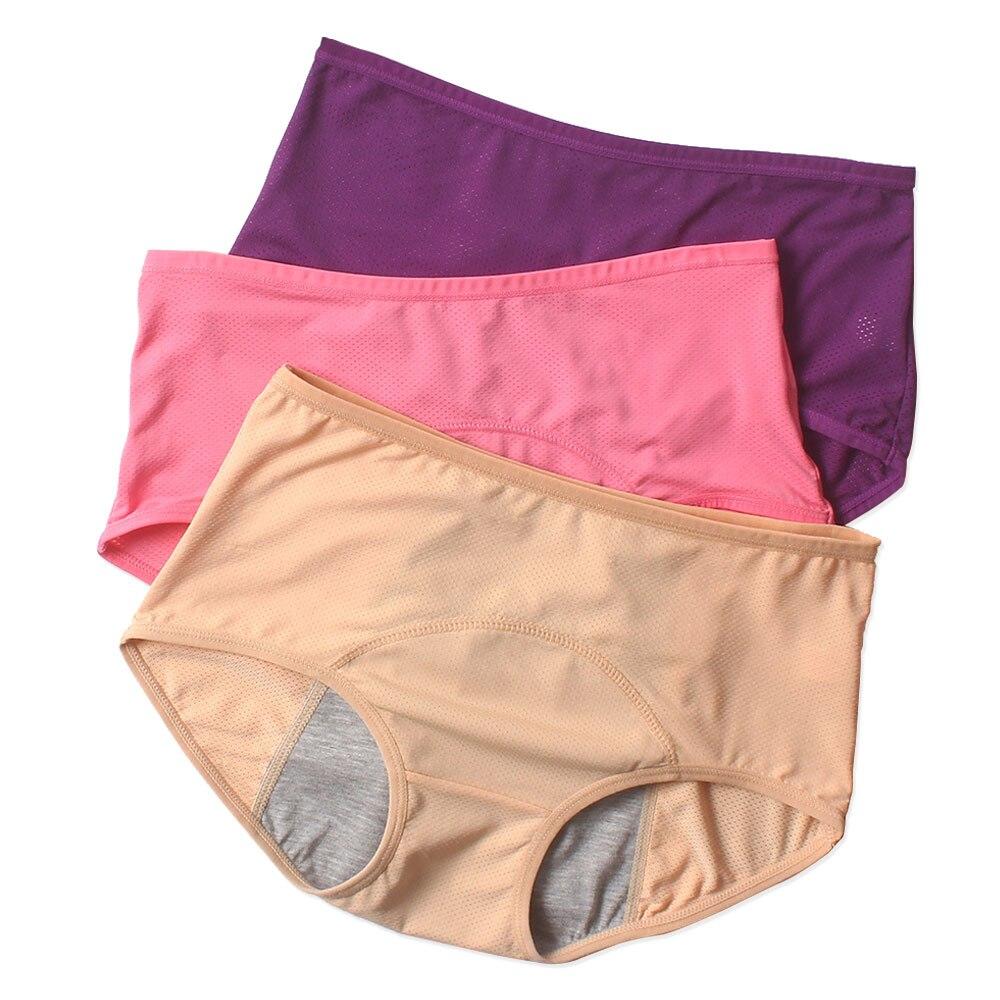 Underwear Women Cotton Period Panties Solid Leak Proof Briefs Menstrual Panties High Waist Physiological Seamless Briefs Female