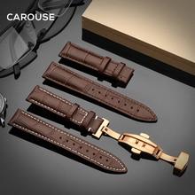 Carouse Armband 18mm 19mm 20mm 21mm 22mm 24mm Kalbsleder Uhr Band Schmetterling Schnalle strap Armband Zubehör Armbänder