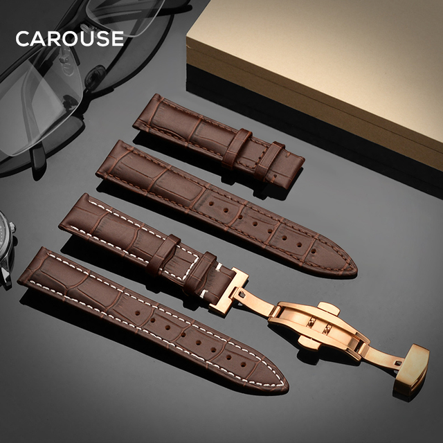 Carouse Watchband 18mm 19mm 20mm 21mm 22mm 24mm Calf Leather Watch Band Butterfl