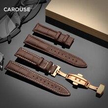 Ремешок для часов Carouse из телячьей кожи, браслет с застежкой бабочкой, аксессуары для наручных часов, 18 мм 19 мм 20 мм 21 мм 22 мм 24 мм