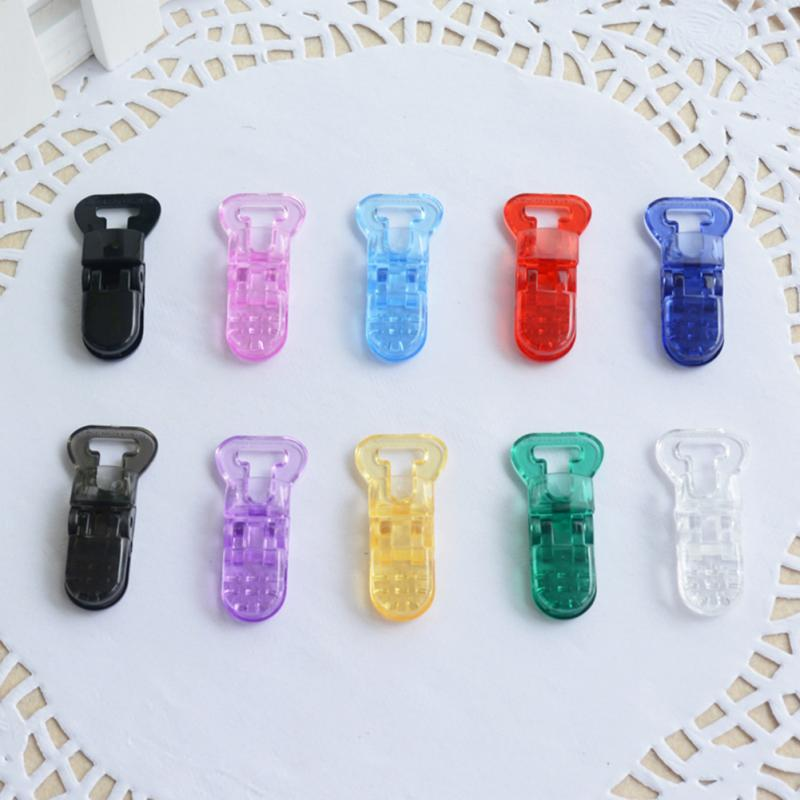 Multicolor 10pcs/lot Plastic Baby Pacifier Clips T-shaped Clear Pacifier Clips Soother Holder For Baby Pacifier Nipples Holder