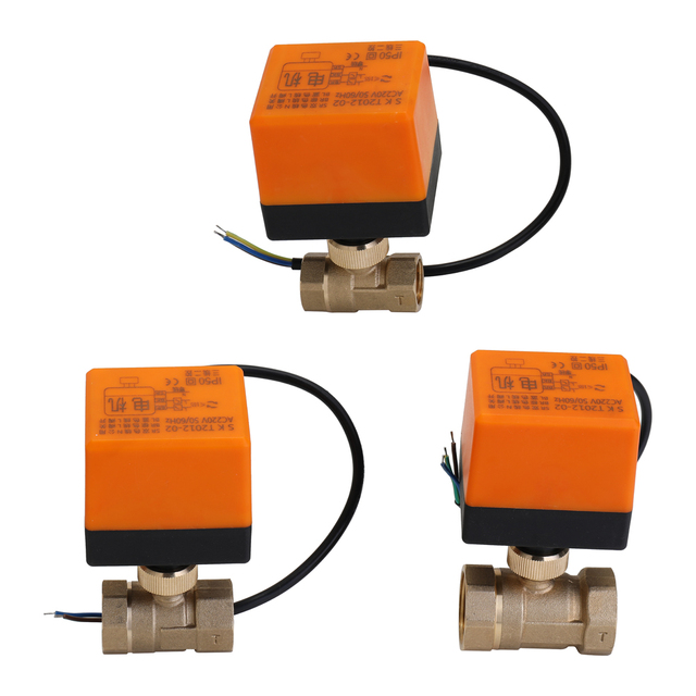 Brass Valve DN25 AC 220V Waterproof 2 Way 3 Wire Ball Electric Motorized Brass Valve with Actuator