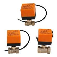 วาล์วทองเหลือง DN25 AC 220V กันน้ำ 2 WAY 3 Wire Ball ไฟฟ้าทองเหลืองวาล์ว ACTUATOR