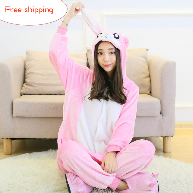 Adult Woman Girl Cosplay Cartoon Rabbit Onesies Pajamas Costumes Winter Warm Sleepwear Jumpsuit Christmas Halloween Clothes