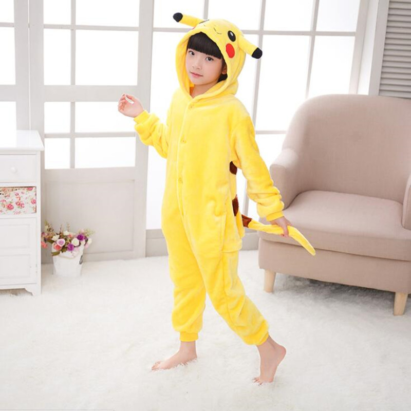 Cartoon Animal Pokemon Pikachu Onesies for Children Onesie Ննջազգեստ Jumpsuit Hoodies Երազ հագուստ երեխաների համար