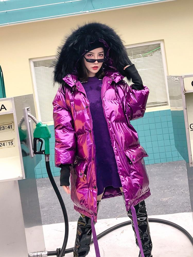 Femmes Witner Fourrure De argent Métallique Whitney Automne Chaud Noir Mode Wang Renard blanc Réel Parka Hiver Capuchon Manteau Survêtement rhodo À 2018 Streetwear Épais 7fgyvYb6