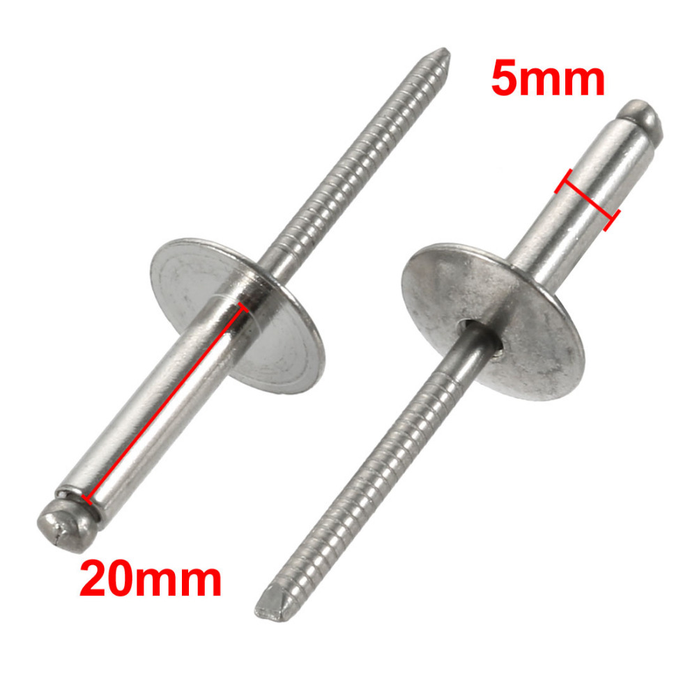 4.8mm x 18mm A2 Stainless Steel Countersunk Open Blind Pop Rivets 5 Pack