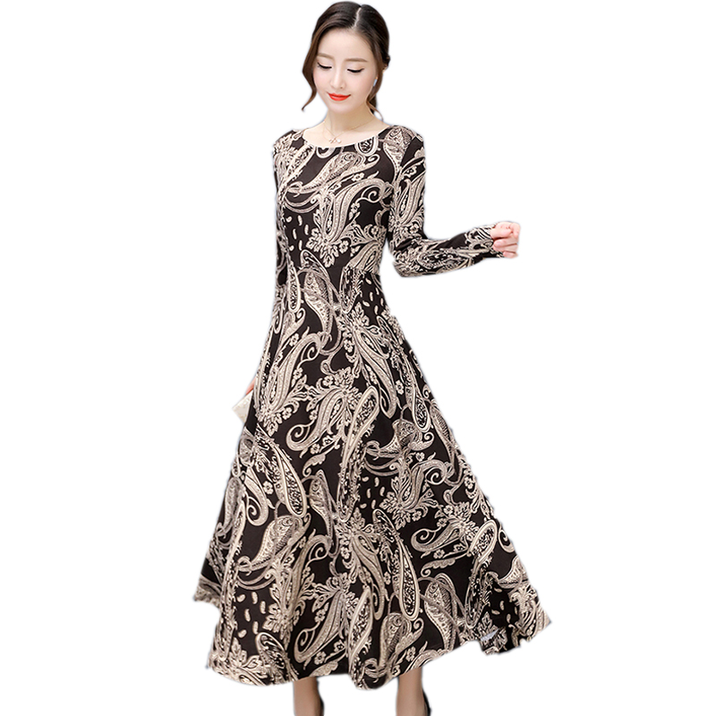 Autumn Winter Dress Women Knitted Dress 2017 Vintage Totems Printed Lady Dresses Long-sleeved Slim Elegant High-end Long Dresses ilismaba new ladies fashion sexy autumn long sleeved brand dresses high quality printed knitted elastic fabric women s dress