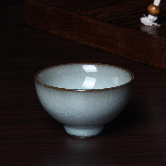 Chinese Rare Longquan Top Grade Celadon Hundredfold Crackle China Teacup Tea Bowl 62ml For Art Collection By Artist Xiaobao Wu