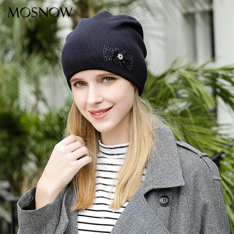 MOSNOW Women's Hats Caps Flower Bow-Knot High Quality Knitted Warm Fashion Brand New 2018 Hat Female   Skullies     Beanies   #MZ815
