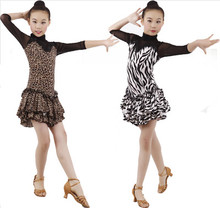 High quality children's ballroom stage clothing girls Latin dance skirts long-sleeved dress Practice And Performence costumes