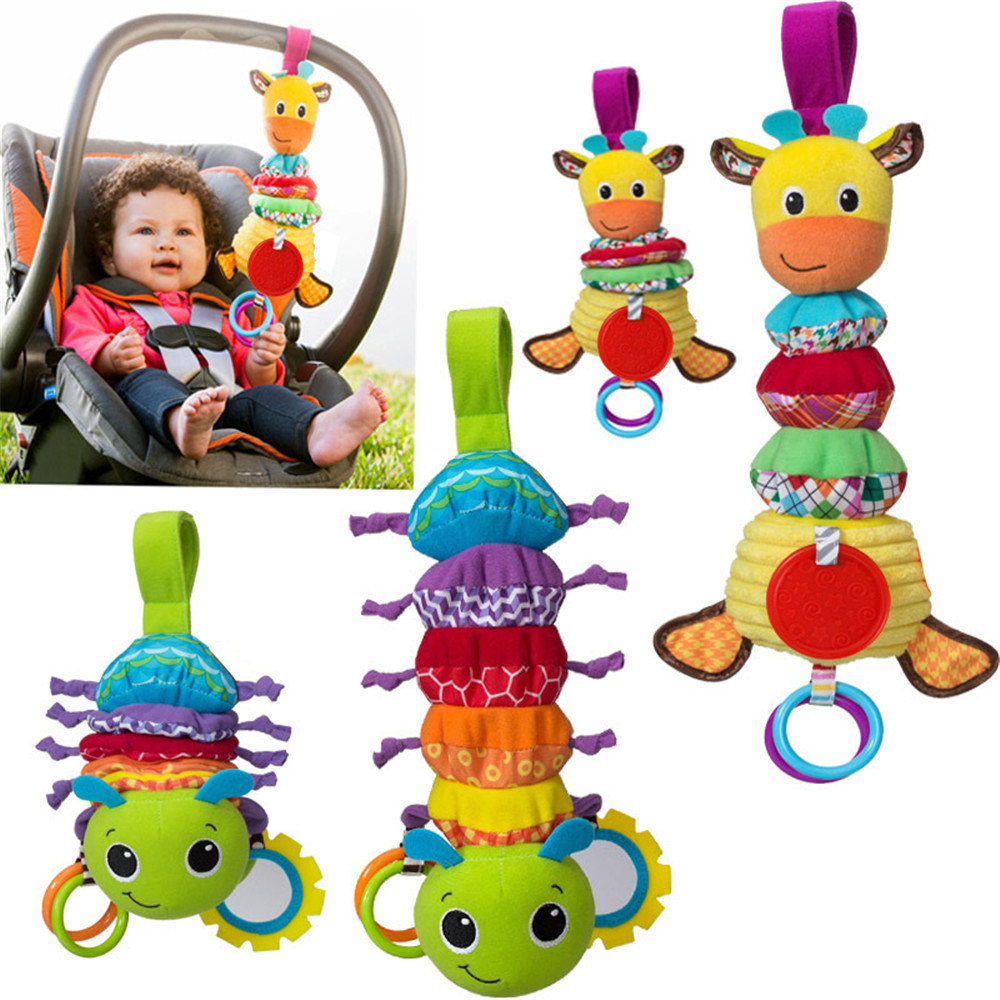 Baby Hanging Toys Giraffe Ladybug Animals Tinkle Hand Bell Stuffed Plush Bed/Stroller Hanging Toy Baby Toy Gifts