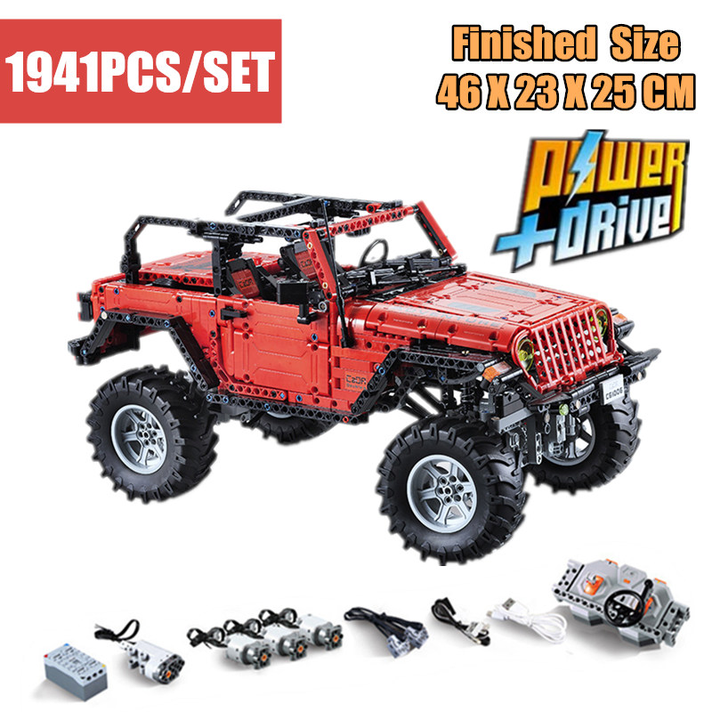 New MOC Jeep Wrangler Adventurer LED RC Motor Power Function fit technic building block bricks Vehicle