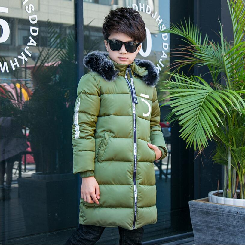 Children Parkas Down Jacket Coats with Faux Fur Hooded Winter Warm Thick Padded Coats for Teenage Boys Girls Kids Clothes 68 2018 new winter big girls warm thick jacket outwear clothes cotton padded kids teenage coat children faux fur hooded parkas p28