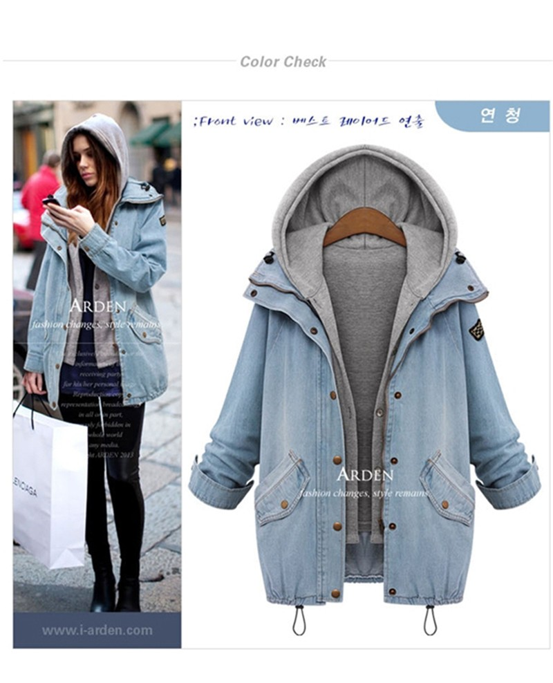 Hooded Drawstring Trends Jackets 2016 Fashion Autumn Winter Pockets Two Piece Outerwear Women Long Sleeve Buttons Blue Coat  (6)