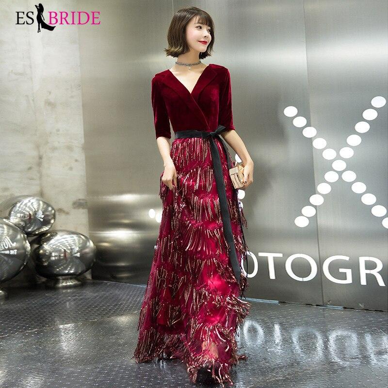 Red Real Photo Vestidos De Fiesta De Noche   Evening     Dress   Long Short Sleeve Robe De Soiree   Evening     Dresses     Evening   Gown ES2482