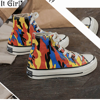 Camouflage Canvas women shoes Summer Lace Up Casual womens sneakers canvas shoes Fashion Out door off white shoes Z156