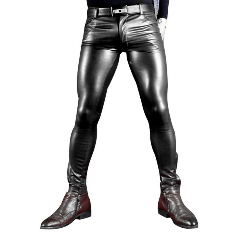 סקסי הגברים פו עור Pu מט מבריק תפקיד מכנסיים אופנה גברים מכנסיים סקיני מכנסיים עיפרון רוכסן פתוח הומו הומו X רך ללבוש FX130