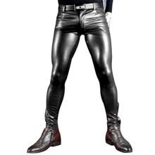 84b1d32a5c4 Sexy Men Faux Leather Pu Matte Shiny Fashion Pants Role Men X Soft Skinny Gay  Pants Zipper Open Pencil Pants Gay Wear FX130