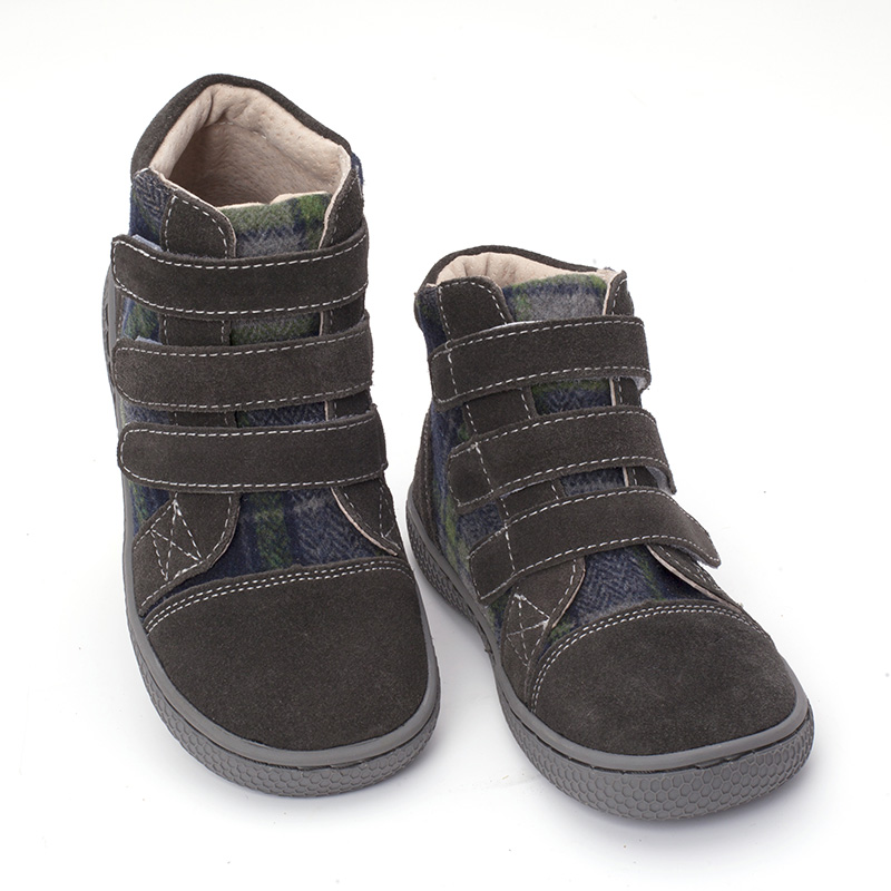 PEKNY BOSA Brand kid plaid ankle boots children Genuine Leather barefoot shoes spring autumn high top toddler girl and boy shoes-in Boots from Mother & Kids