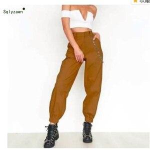 Image 3 - 여성 streetwear 하이 웨스트 솔리드 메탈 체인 슬링 카고 바지 하라주쿠 블랙 화이트 카키 옐로우 그린 바지 롱 조거 2xl