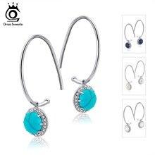 ORSA JEWELS 925 Sterling Silver Women Drop Earrings Four Color Fashion Jewelry Pave Setting AAA Cubic Zircon Trendy Earring SE68