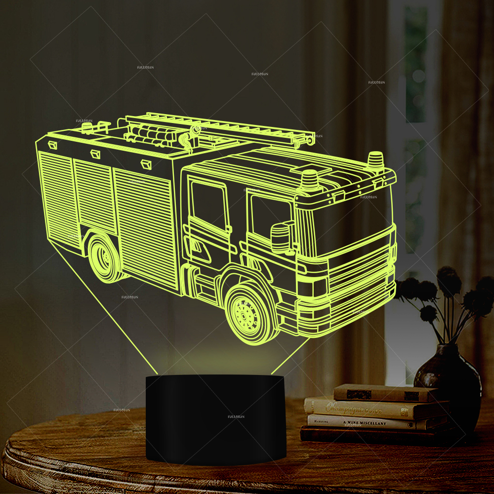 Car Addiction truck design LED night light fireline fire trucks 7 colors sleep lights home decor creative gifts boys girls gift