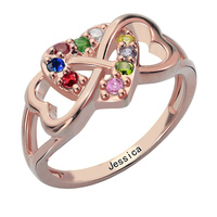 Triple Heart Infinity Ring Personalized Name Ring Infinity Heart Ring Rose Gold Birthstone Ring For Mother