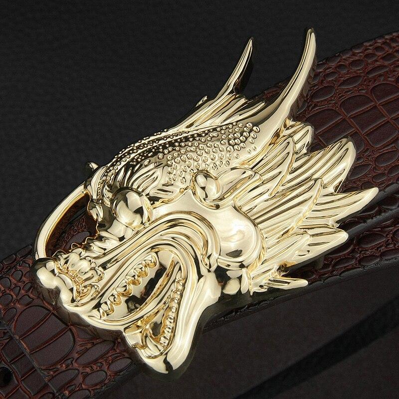 Dragon Golden buckle High Quality luxury brand Crocodile Grain Retro belt men genuine leather Waist Strap wide Waistband