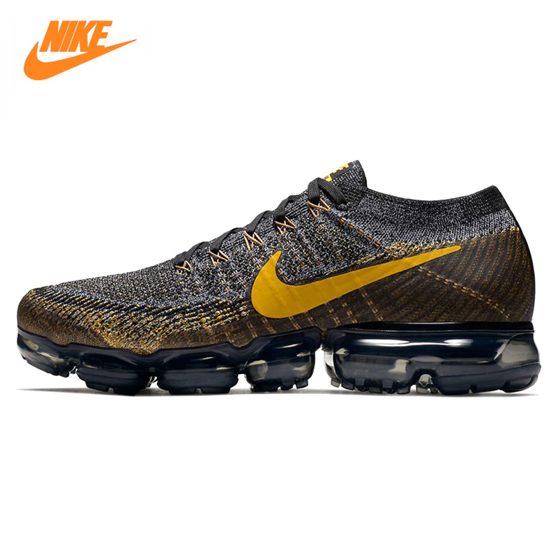 Nike Air Vapormax Flyknit Men's Running Shoes, Outdoor Sneakers Shoes, Black & Yellow, Non-Slip, Breathable 849558 009