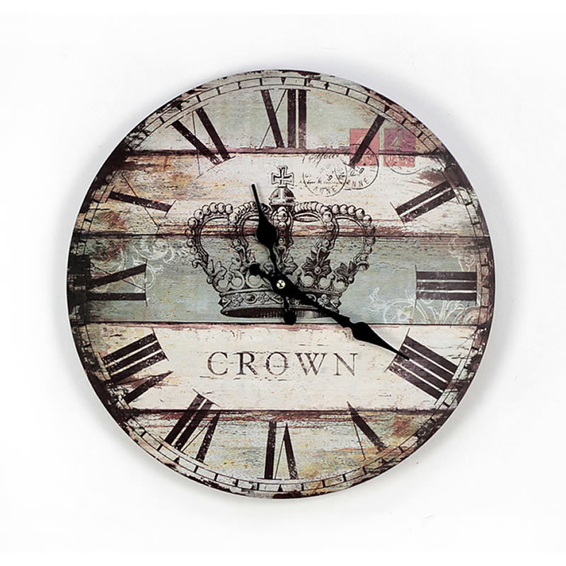 New Round Wooden Wall Clockbritish Style Wood Coloured Drawing Crown