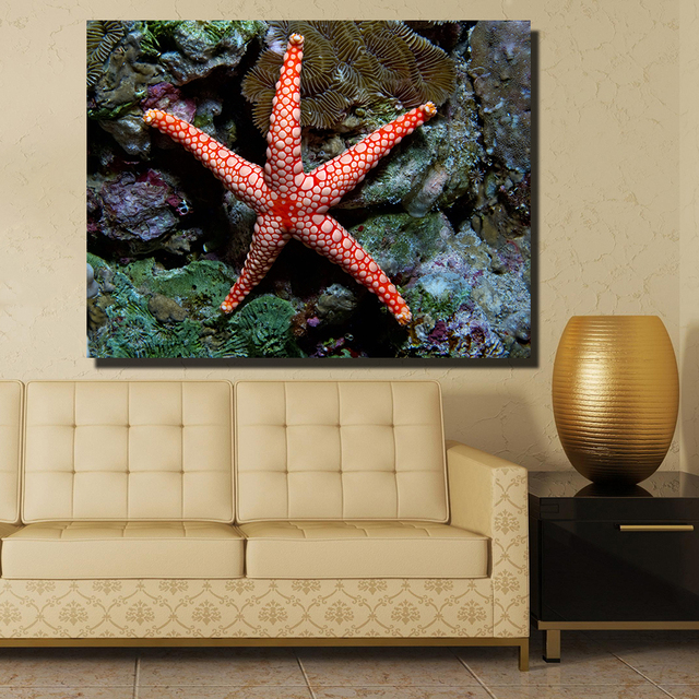 QKART Frameless Sea Starfish Indian Pacific Oil Painting Wall ...