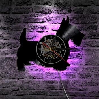 Настенные часы scoty Dog Laser, 1 шт., виниловые часы с изображением животных, настенный светильник, светодиодная лампа в винтажном стиле, настенный...