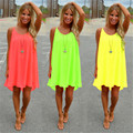 Women Sexy Candy Color Summer Casual Dress Sleeveless Fashion O Neck Loose  Beach Dress Short Mini Dress Plus Size