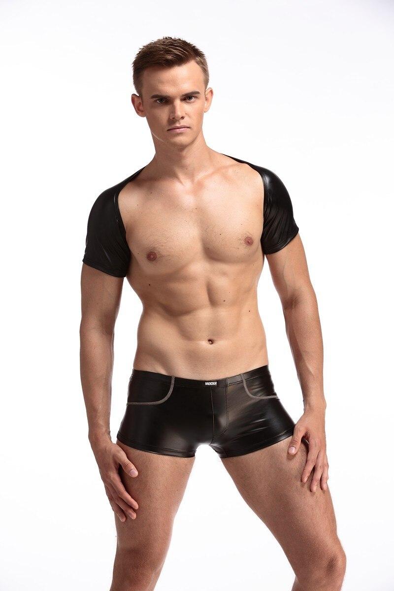 1 Satz Overall Sexy Männer Pu Kunstleder Kurzarm Body Catsuit Körper Anzüge Dj Homosexuell Club Tanzabnutzung Halb Weste Tank + Boxer F35