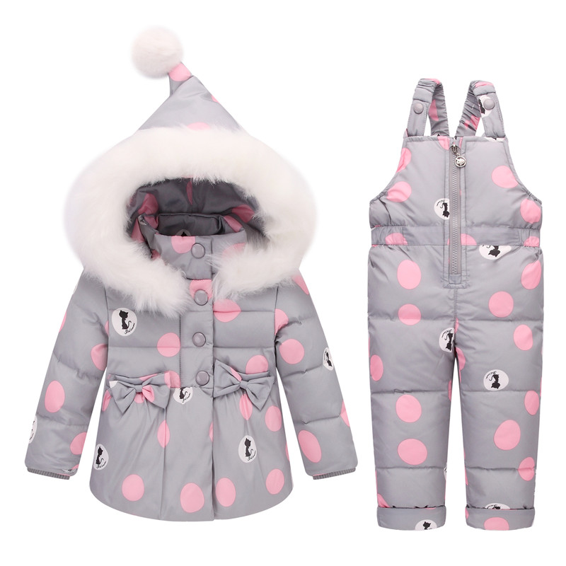 купить BibiCola Russian Winter Kids Clothing Sets Warm Duck Down Jackets Snowsuit Baby Girls Down Fur Hooded Coats+Overalls Pant Sets недорого