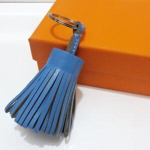 Image 4 - Luxo personalizado artesanal de couro real borla chaveiro metal chaveiro saco feminino charme acessório bolsa chaveiro carro pingente