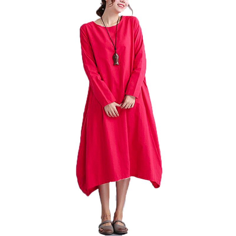 Popular Red Linen Dress-Buy Cheap Red Linen Dress lots from China ...