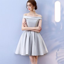 Off the Shoulder Grey Colour Above Knee Mini Dress  Wedding Guest Bridesmaid Dresses Sleeveless Back of Bandage