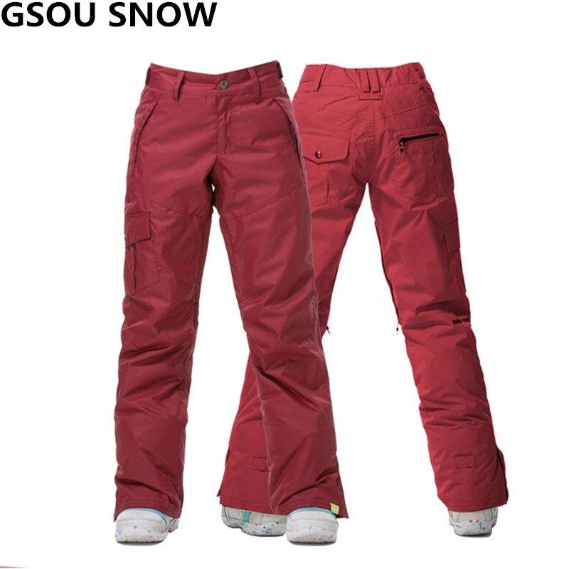 Gsou Neige Profession Pantalon de Ski Femmes Coupe-Vent Imperméable Snowboard Pantalon de ski pantalon Sport Ski et Snowboard Neige Pantalon