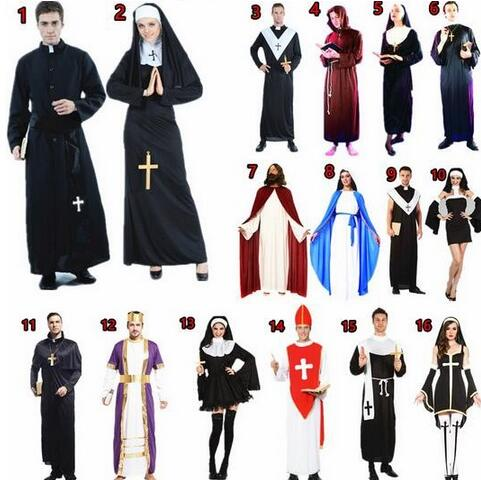 US $13 86 18% OFF 2016 High quality Halloween Party Cosplay Costume  Children Adults Roman Greek Clothing Jesus The Virgin Mary Nun Robes  Dress-in
