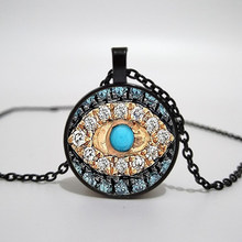 Collier mauvais œil bonne chance collier d'art Talisman Eyeliner collier en verre imprimé, collier pendentif, photo à la main(China)