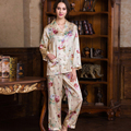 Brand Women's 100% Silk Autumn Sleepwear Long Sleeve 2 Piece Set Silk Pajamas Women Pijama Lady Pajamas Sets Free Shipping