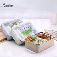 Asipartan 1pc Lunch Boxs 2 Layers Stainless Steel Japanese With Tableware Portable Bento Box Eco Friendly Wheat Food Container