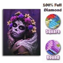 2019 NOWY Pełny kwadrat okrągłe wiertła 5D Diy Diament Malarstwo  sugar  czaszki beauty  3D Diament Haft Mozaika Rhinestone ścian. 3190029beb24
