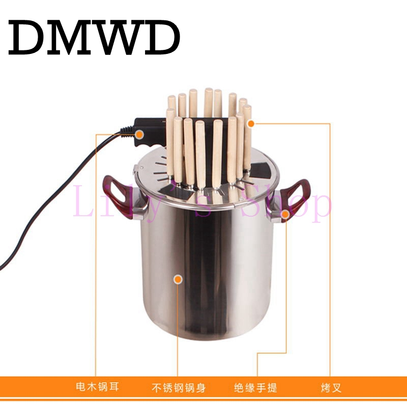 Household electric grill Vertical kebab grill smokeless rotisserie stainless steel electric BBQ barbecue machine 15-18 skewers jiqi stainless steel electric crepe maker plate grill crepe grill machine