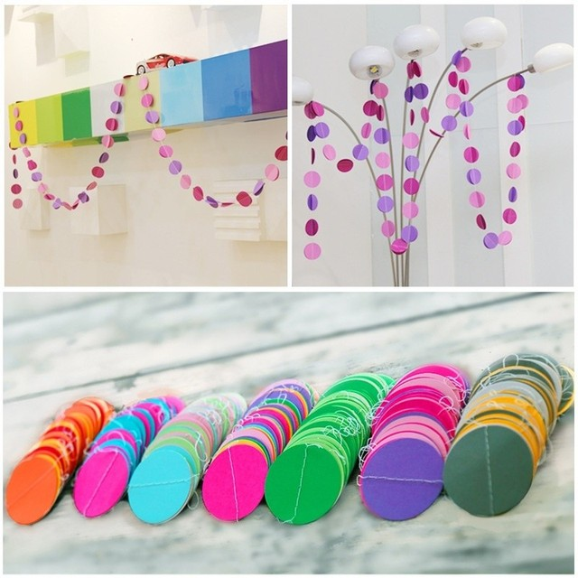 Delicieux 1pc 4m Colorful Paper Hanging Garlands For Wedding Party Room Decorative  Round String Chain Home Window
